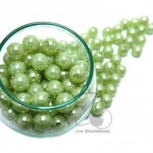 ลูกปัดมุกพลาสติก 10มิล สีเขียวหยก (15 กรัม)