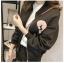 เสื้อคลุม แขนยาว ซิปหน้า ลาย VIVI สีดำ